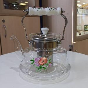 Чайник стеклянный с фарфоровой ручкой 1,2 л