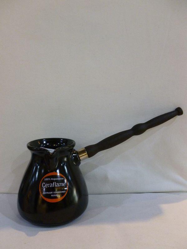 Турка керамическая черная пузатая Ceraflame 500 мл