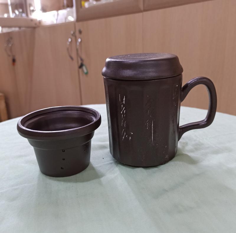 Чашка Ци глиняная тёмная, 350 мл