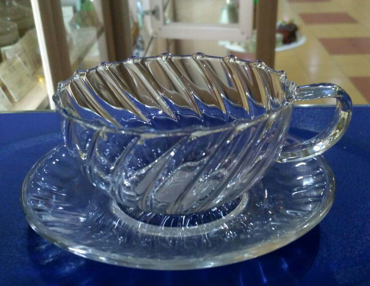 """Чашка с блюдцем стеклянная """"Вихрь"""", 150 мл"""